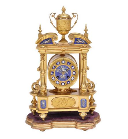 19th_Ormolu_e_Porcelana SoulCarioca_Mantle_Clock_Frances_do_Sec。