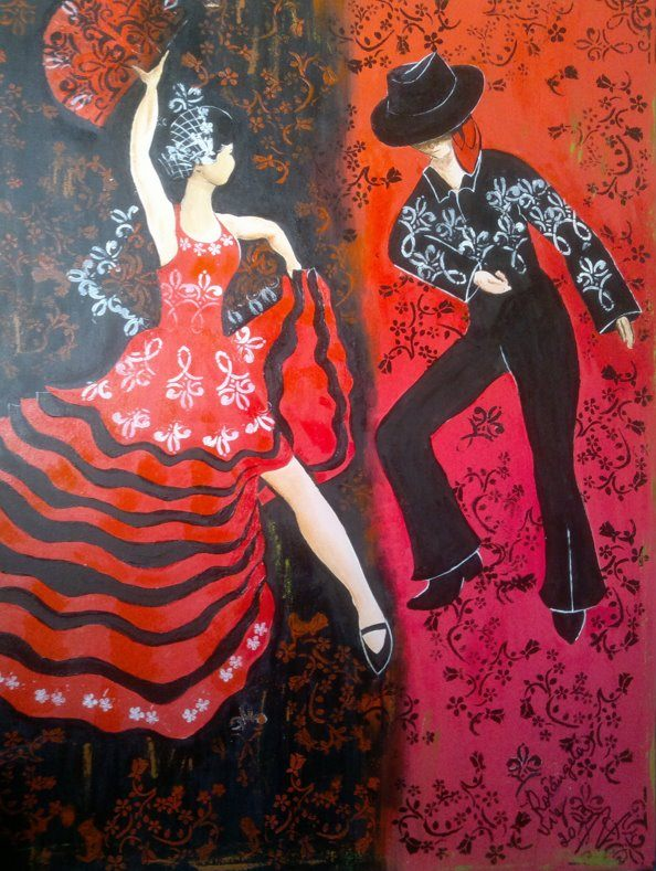 Flamenco in Red and Black