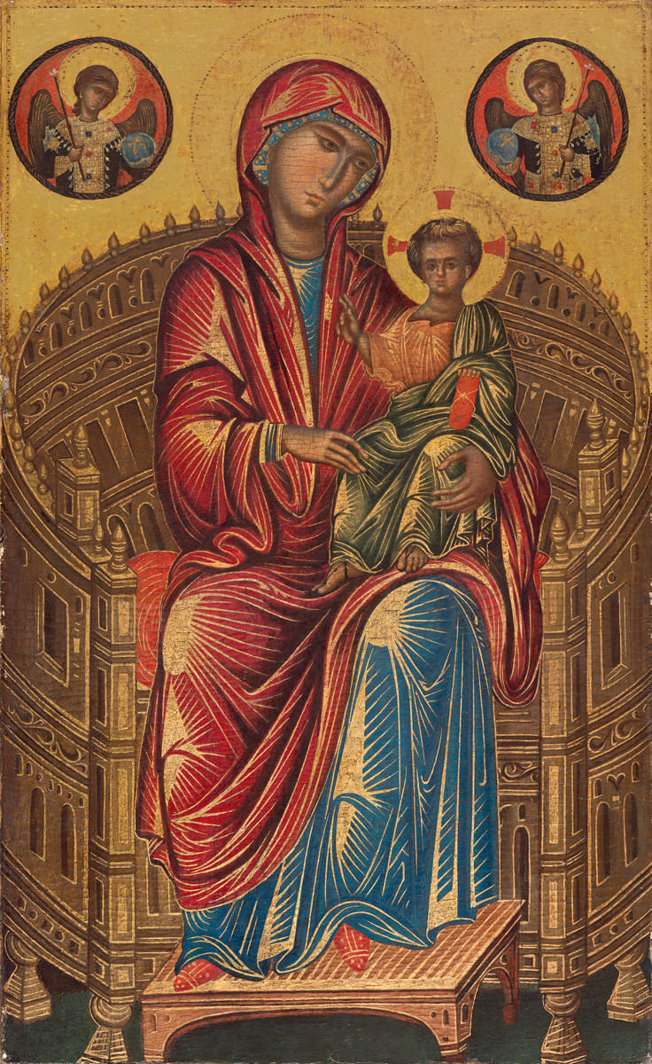Feige. 1 - Madonna auf dem Thron mit dem Kind, National Gallery of Art, Washington D. C., Andrew W. Mellon-Sammlung. Wahrscheinlich Altarbild in Konstantinopel gemalt 1280.