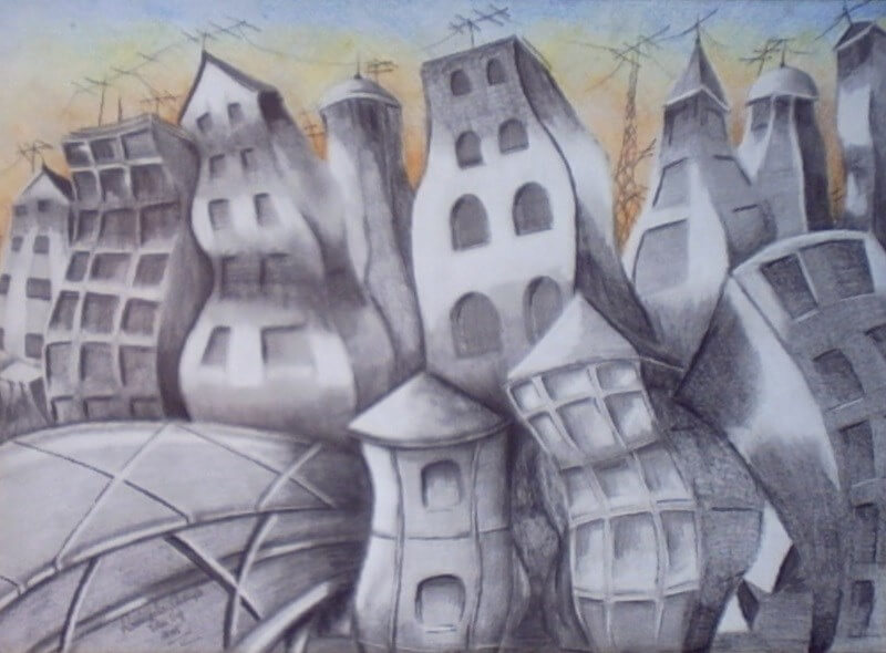 The Melted City I. Year: 2006. Technique: Pencil on Paper. Dimensions: 67 x 80 cm.
