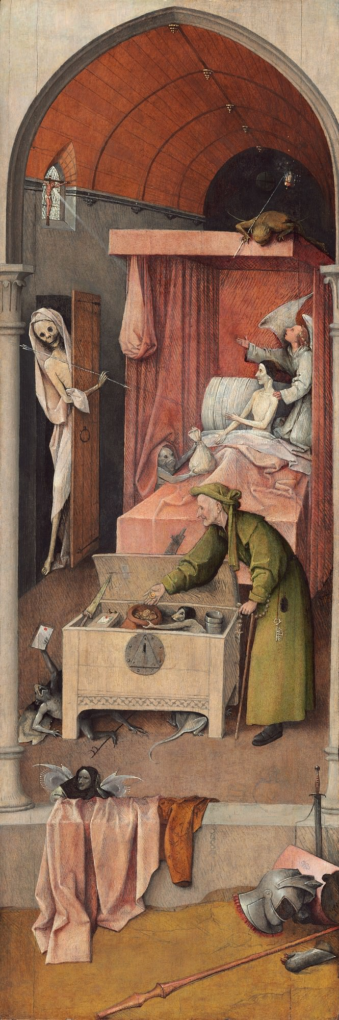 Death and the Miser, 1485/1490, Hieronymus Bosch (Netherlandish, c. 1450 - 1516 ). Samuel H. Kress Collection.