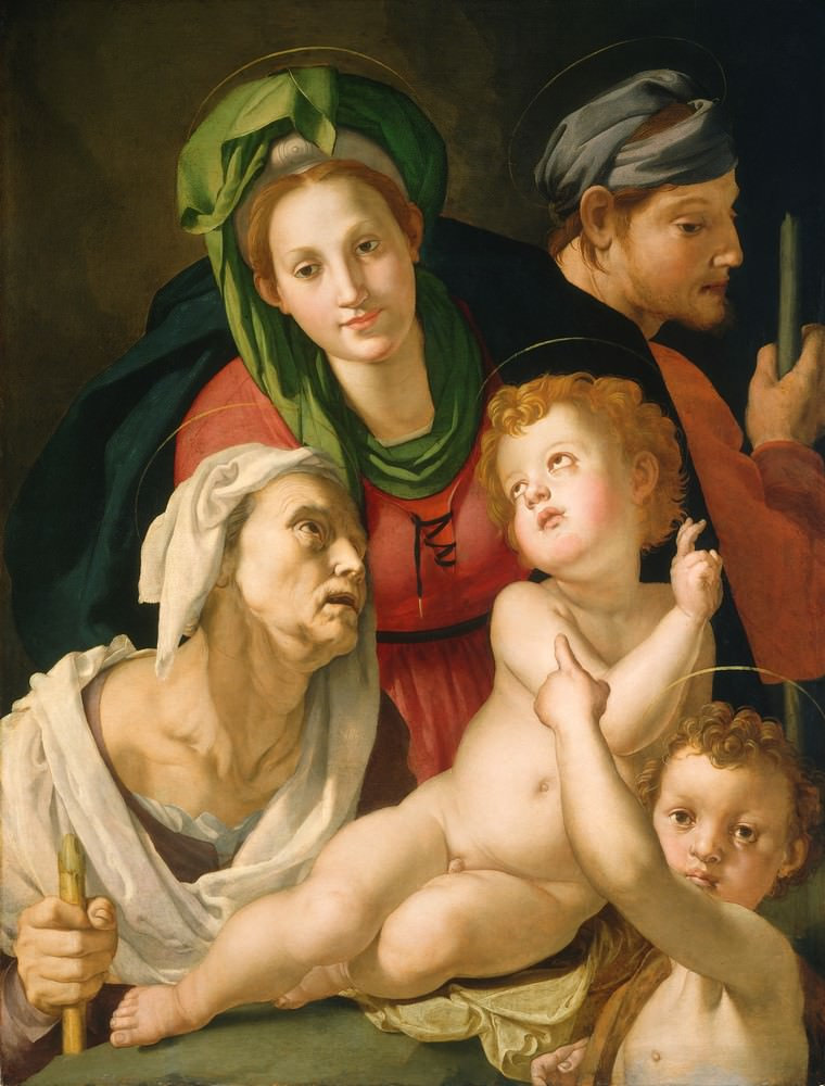 Die Heilige Familie, Agnolo Bronzino, 1527-1528, Samuel H. Kress Collection.