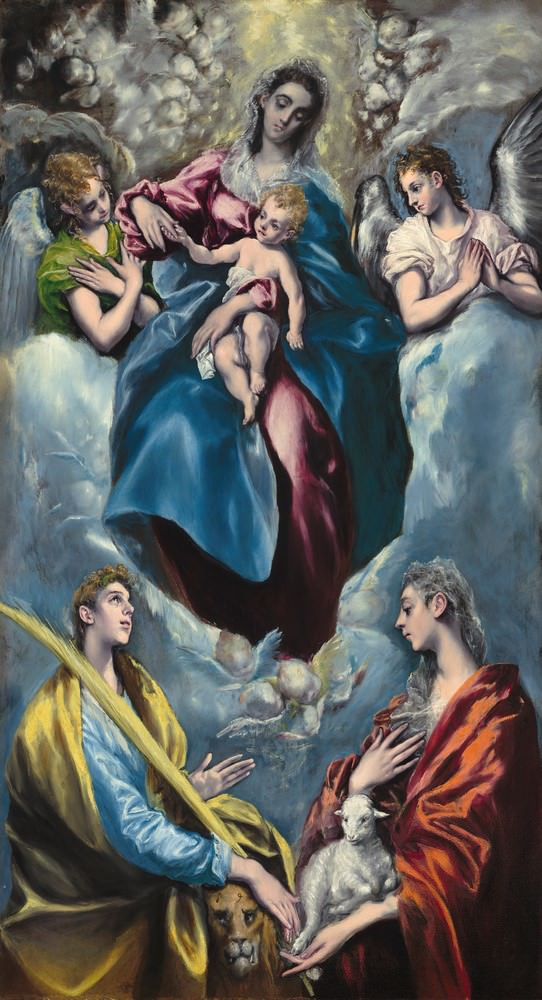 Maria und Kind, mit Saint-Martina und Saint Agnes, El Greco, 1597-1599, Widener Collection.