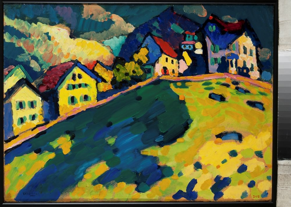"Murnau, Summer landscape, 1909, Study for the painting ""Houses on the Hill"", Oil on cardboard, Russian State Museum. © Kandinsky, Wassily."
