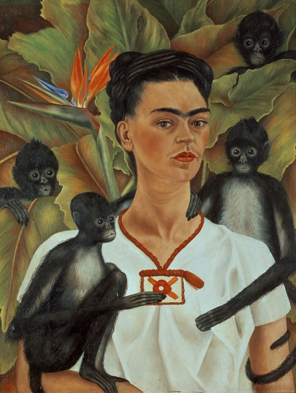 Fig. 1 -Frida Kahlo, Autorretrato con monos, 1943, Oil on canvas, Courtesy the Guelman Collection, © 2015 Bank of Mexico Diego Rivera & Frida Kahlo Museums Trust.