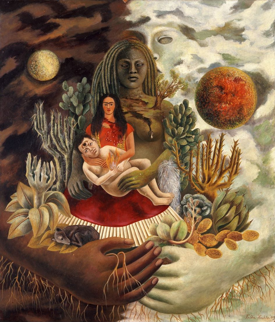 Fig. 3 -Frida Kahlo, El abrazo del love Universe, la Tierra, Mexico, Diego, Yo y el señor Xólotl, 1949, Oil on Masonite, © 2015 Bank of Mexico Diego Rivera & Frida Kahlo Museums Trust.