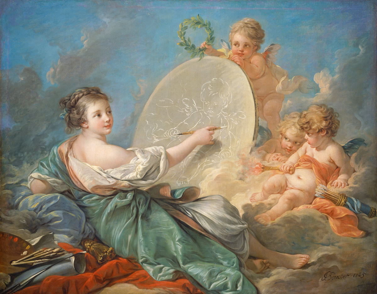 Fig. 10 – Alegoria da Pintura, François Boucher 1703 – 1770, datada 1765, óleo sobre tela, pintura, National Gallery of Art, Crédito Samuel H. Kress Collection.