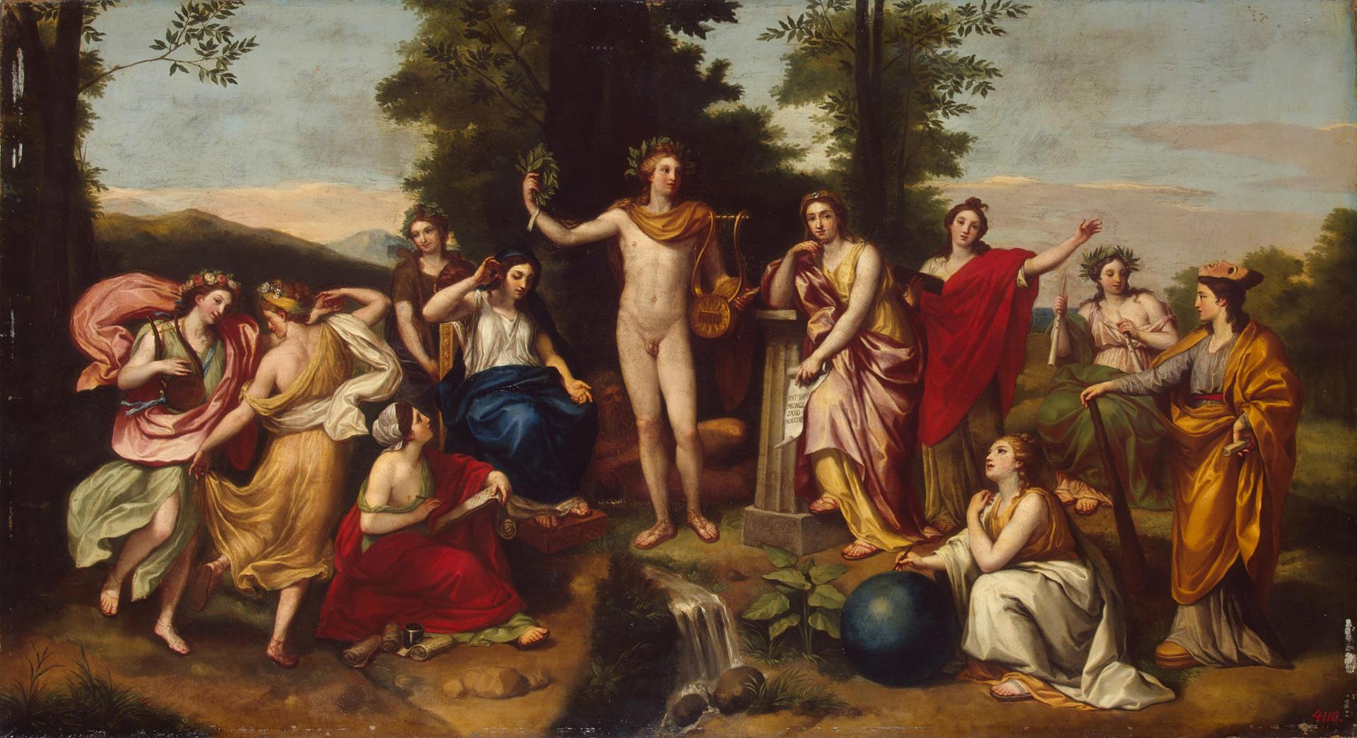 Fig. 3 – Mengs, Anton Raphael. Parnassus. Germany. 1761. Oil on canvas 55 x 101 cm. Inv. no. GE-1327. Crédito: The State Hermitage Museum, St. Petersburg.