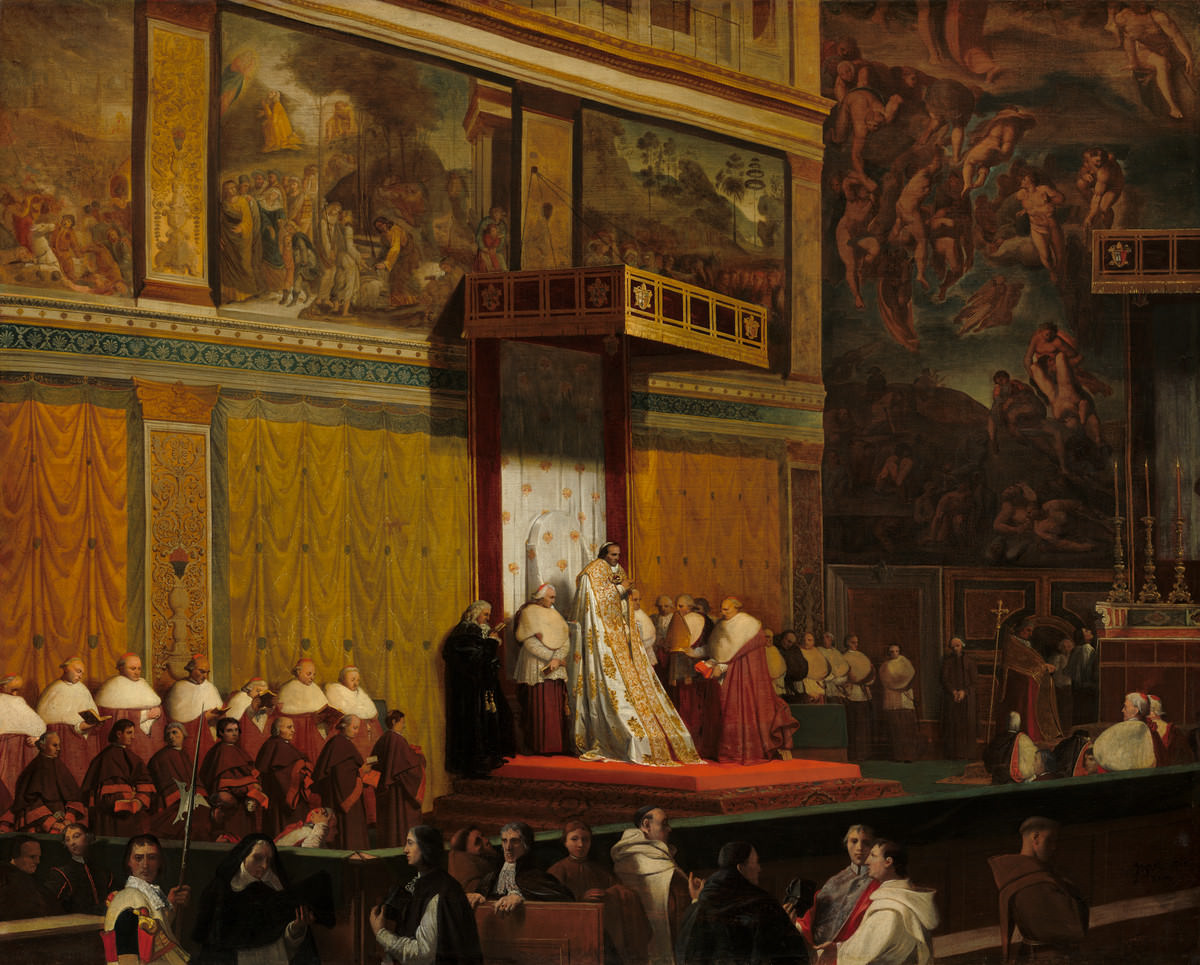Fico. 7 -Papa Pio VII nella Cappella Sistina, Jean-Auguste-Dominique Ingres, 1814. Galleria Nazionale d'Arte, Washington. Credito: Samuel H. Kress Collection.