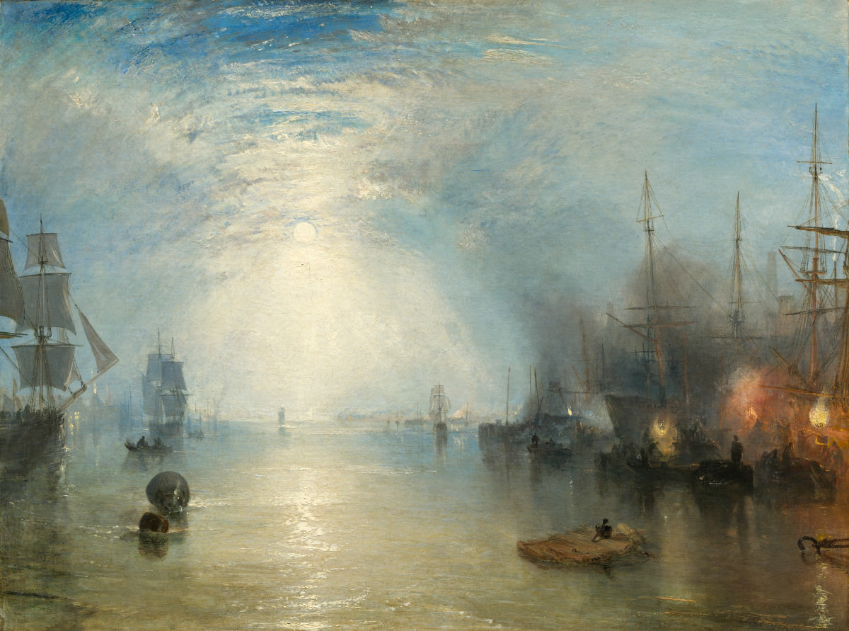 Feige. 13 -Segler mit Kohle im Mondschein, Joseph Mallord William Turner, 1835. National Gallery of Art, Washington. Widener Sammlung.