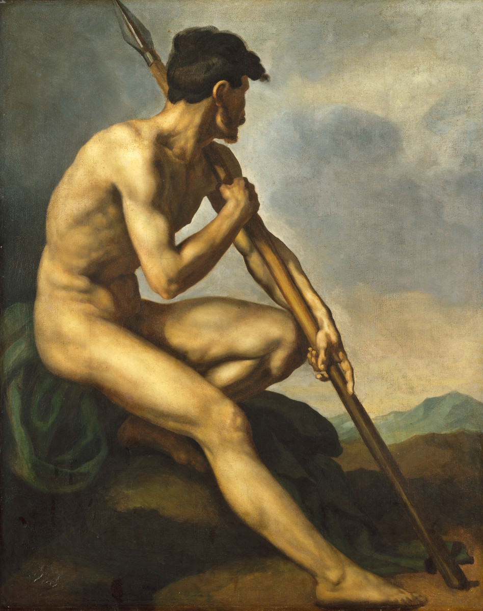 Feige. 9 -Nackte Krieger mit Speer, Théodore Gericault, 1816. National Gallery of Art, Washington. Chester Dale Collection.