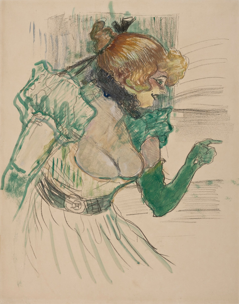 Fig. 3 -Artist with Green Gloves, The singer Dolly Star Le Havre, Toulouse-Lautrec, 1899. Photo: SÃO PAULO MUSEUM Of ART Collection.