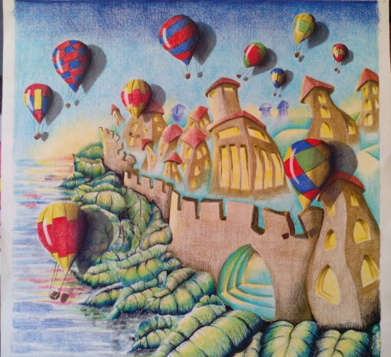Fig. 5 -Balloons over the city Melted, color pencil on paper, Rosângela Vig.