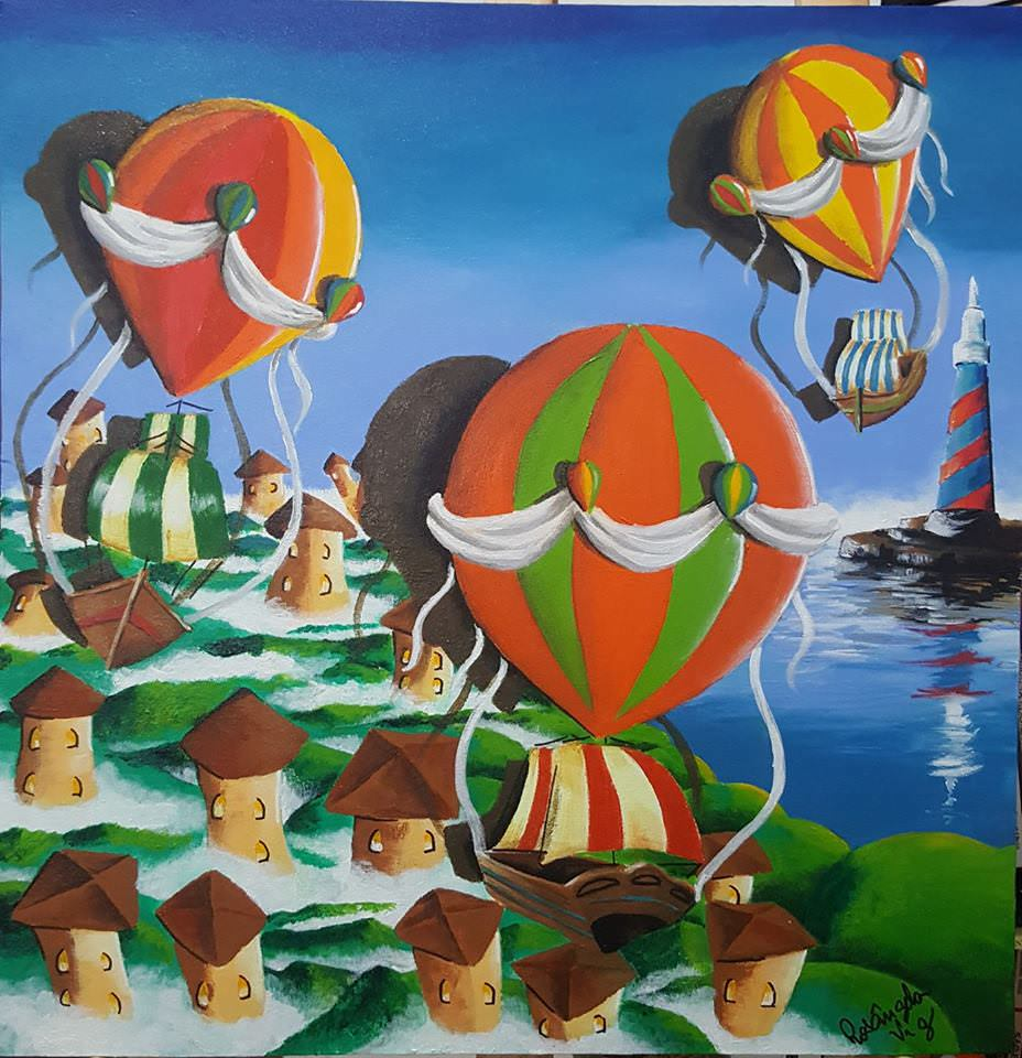 Fig. 1 -Boats coming to the imaginary city, acrylic on canvas, Rosângela Vig.