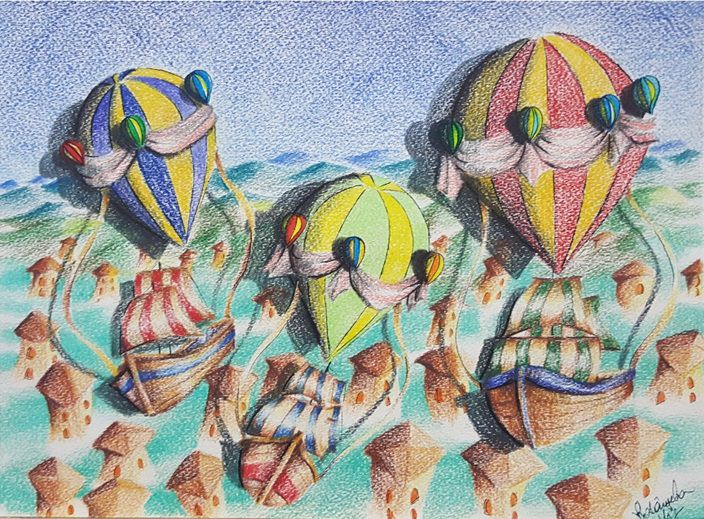 Fig. 2 -Boats coming to the imaginary city II, color pencil on paper, Rosângela Vig.