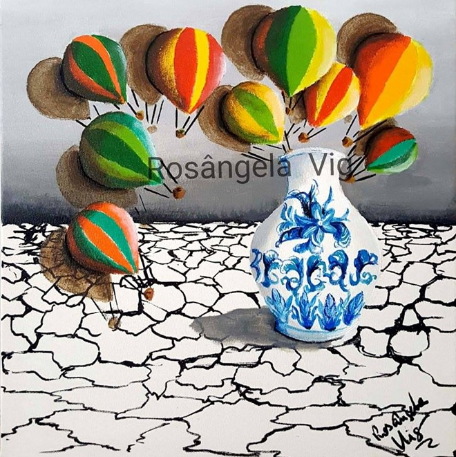 Fig. 6 -The Magic Vessel on arid landscape, acrylic on canvas, Rosângela Vig.