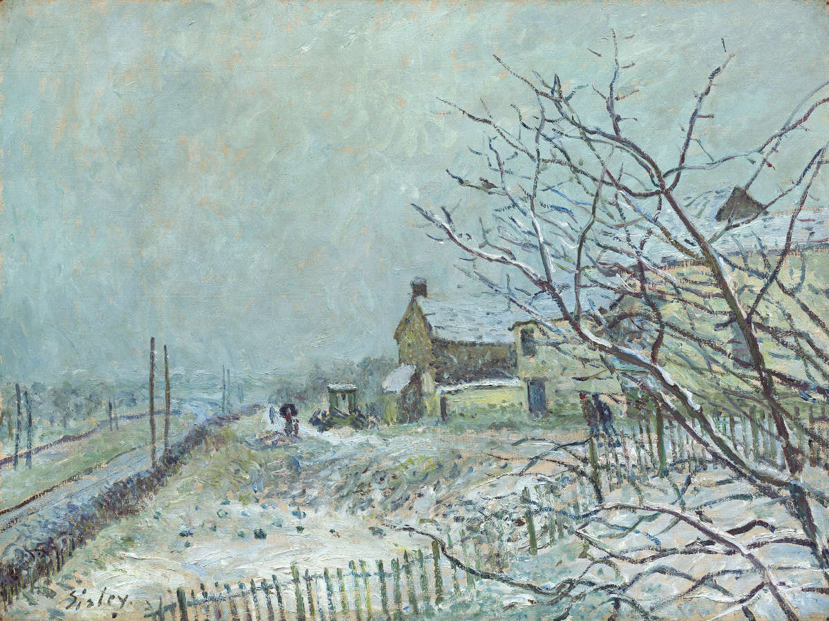 Feige. 13 -Erste Blizzard in Veneux-Nadon, Alfred Sisley, 1878. National Gallery of Art, Washington. Gestiftet von Lolo Sarnoff in Erinnerung an deinen Großvater, Louis Koch.