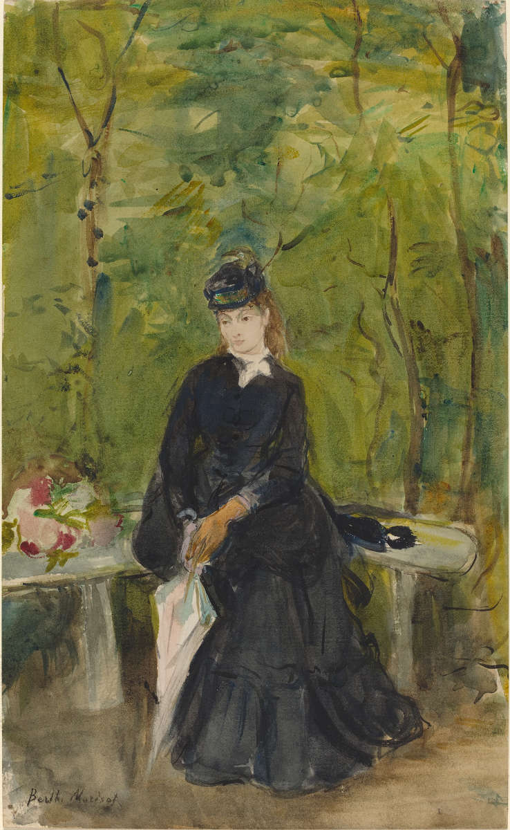 Feige. 10 -Die Schwester des Künstlers, EDMA, sitzen in einem park, Berthe Morisot, 1864. National Gallery of Art, Washington. Ailsa Mellon Bruce Collection.