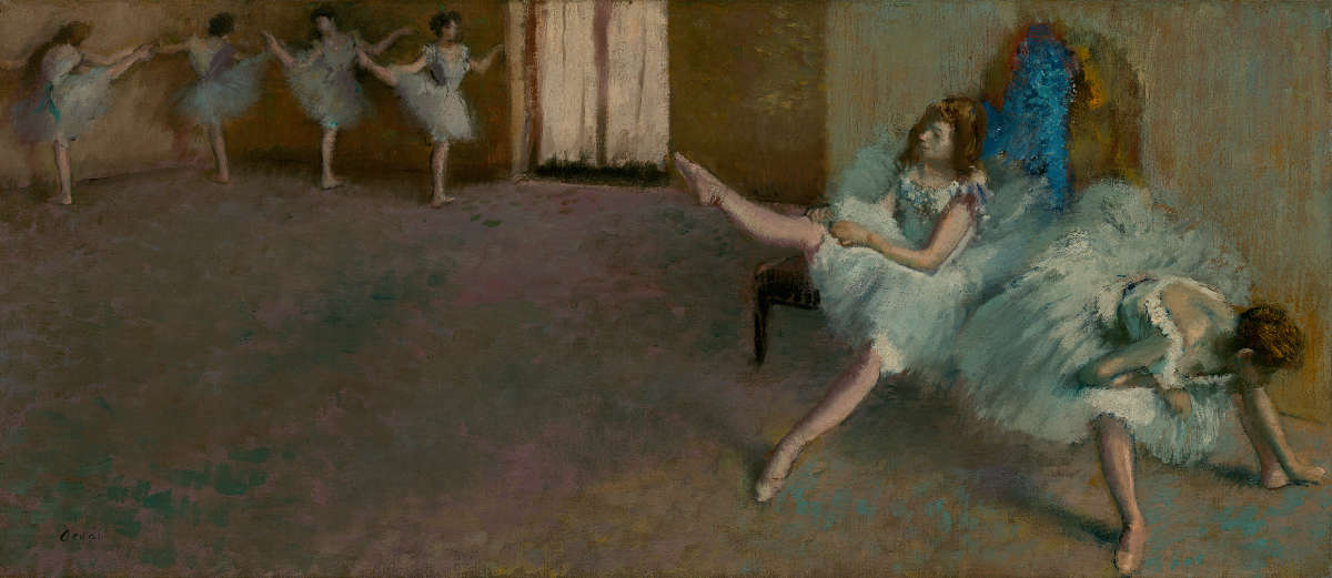 Feige. 9 -Vor dem Ballett, Edgar Degas, 1890-1892. National Gallery of Art, Washington. Widener Sammlung.