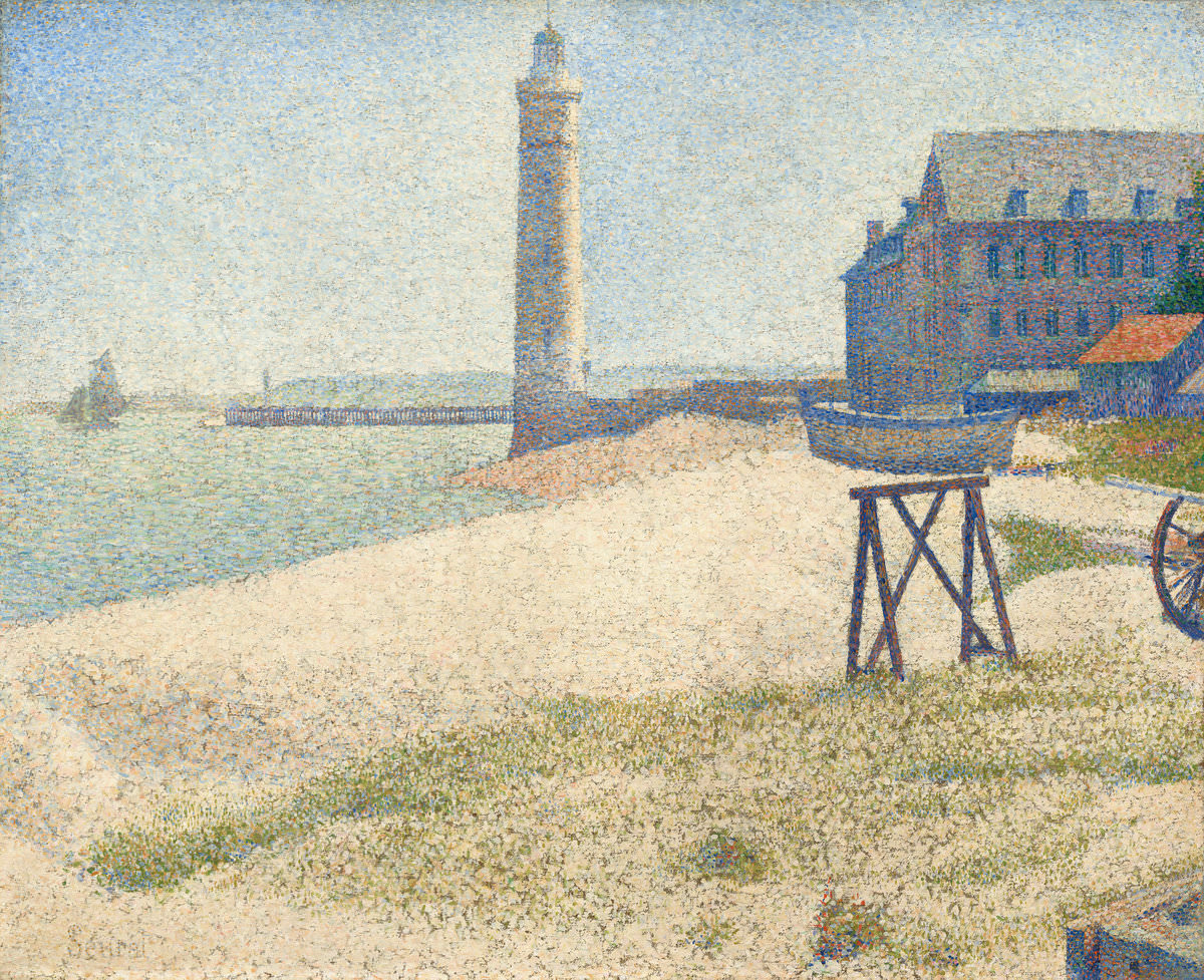 Feige. 9 -Leuchtturm in Honfleur, Georges Seurat, 1886. National Gallery of Art, Washington. Herr Sammlung. und Frau. Paul Mellon.