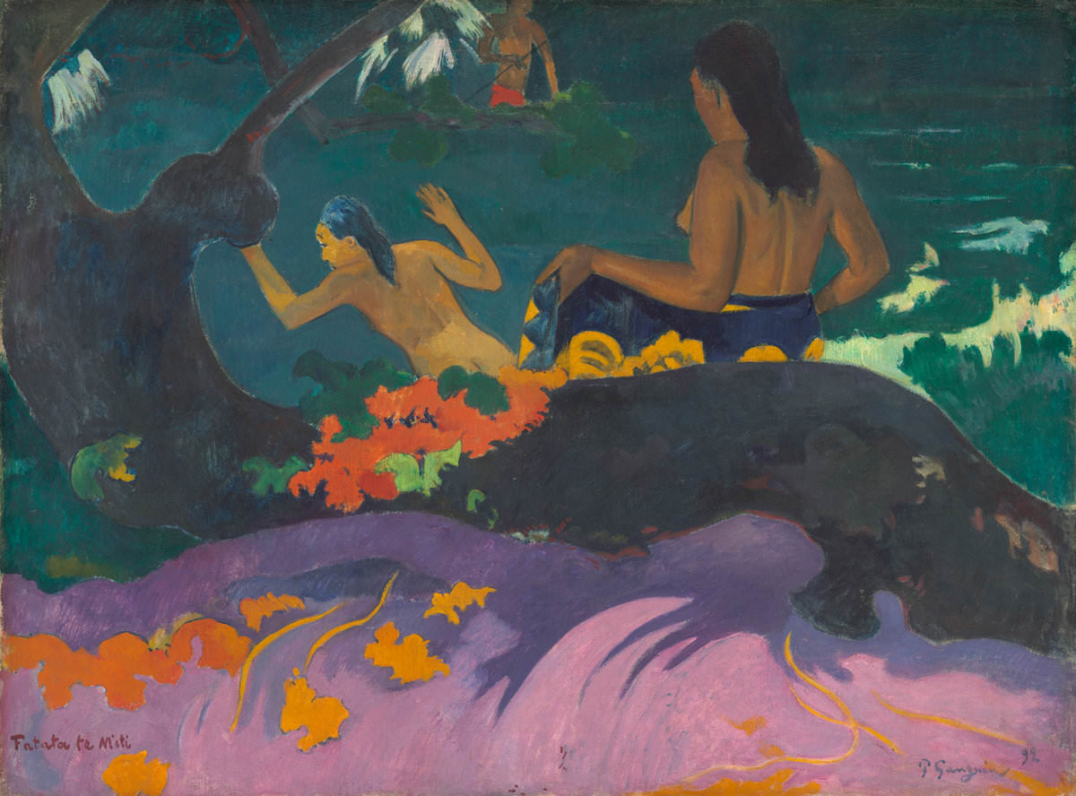 Fig. 4 Fatata te Miti - (Cerca del mar), Paul Gauguin, 1892. National Gallery of Art, Washington. Colección de Chester Dale.