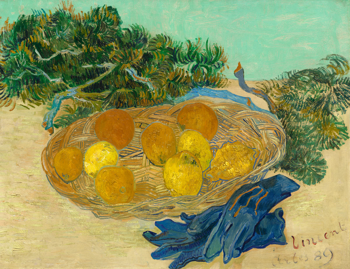 Fig. 14 -Bodegones de naranjos y limoneros con guantes azules, Vincent Van Gogh, 1889. National Gallery of Art, Washington. Colección Sr.. y Sra.. Paul Mellon.