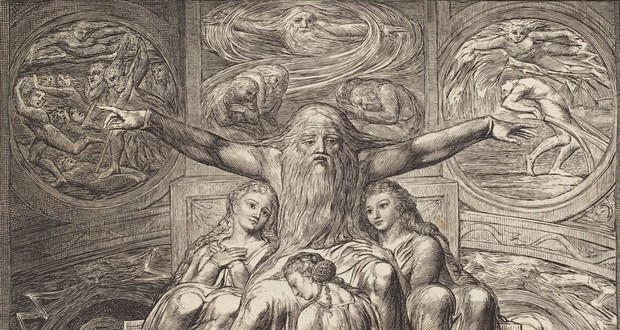 Fig. 1 – Job and His Daughters, 1825. Destaque. William Blake. Britânico, 1757 - 1827. National Gallery of Art, Washington. Presente de W.G. Russell Allen.