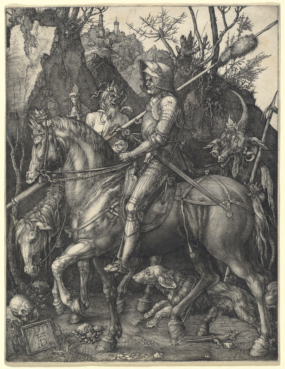 "Fig. 1 – Knight, Death and Devil, 1513. Albrecht Düher. National Gallery of Art, Washington. Rosenwald Collection. ""More clearly speaking, skull, It seems to-me, expresses death, the end that is exposed in the way that man travels "". – Juliana Vannucchi."