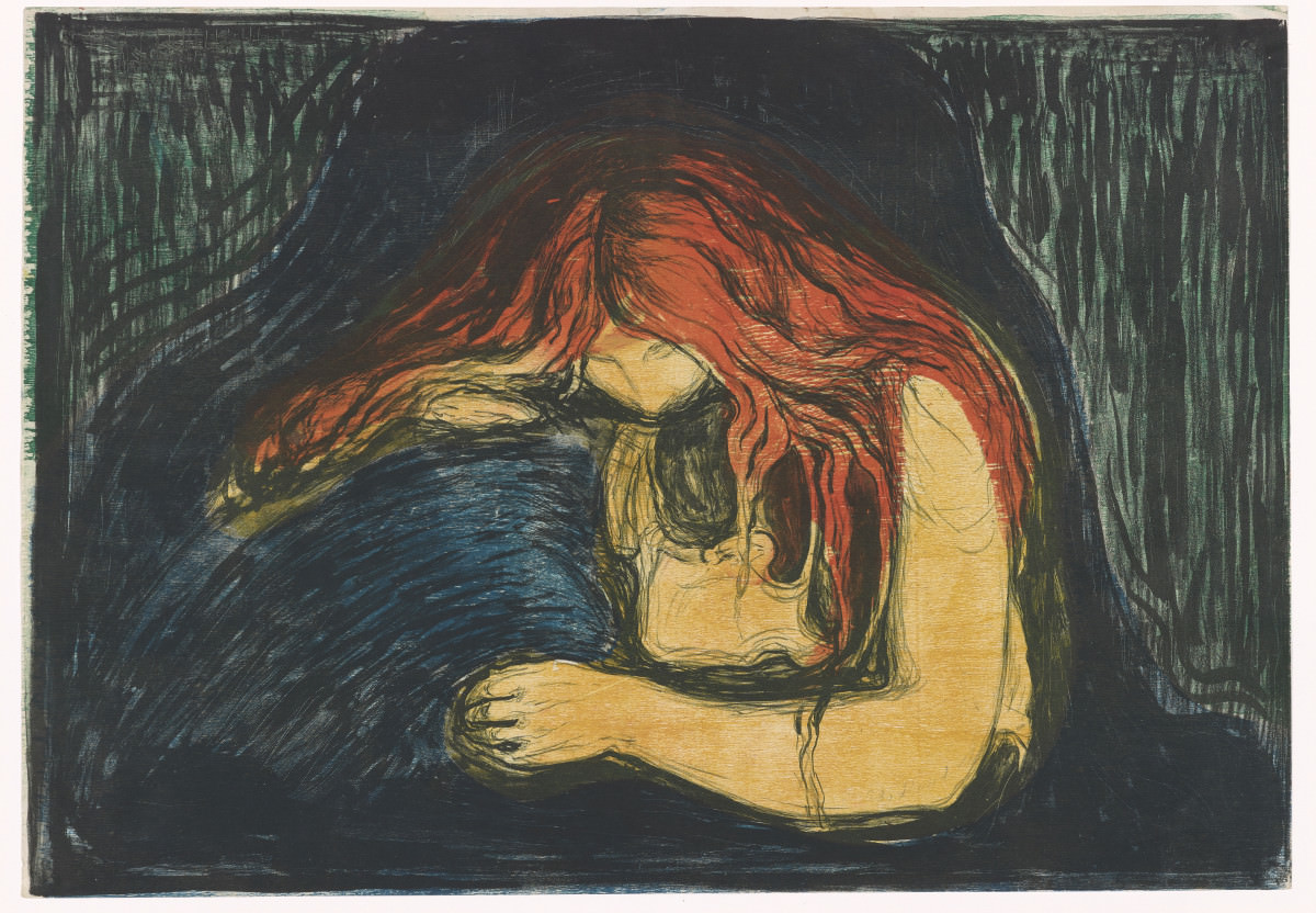 Fig. 13 – Edvard Munch: Vampiro II, 1895-1902, litografia, 380-387 x 550-560 mm. Munch Museum, Oslo. Photo © Munch Museum.