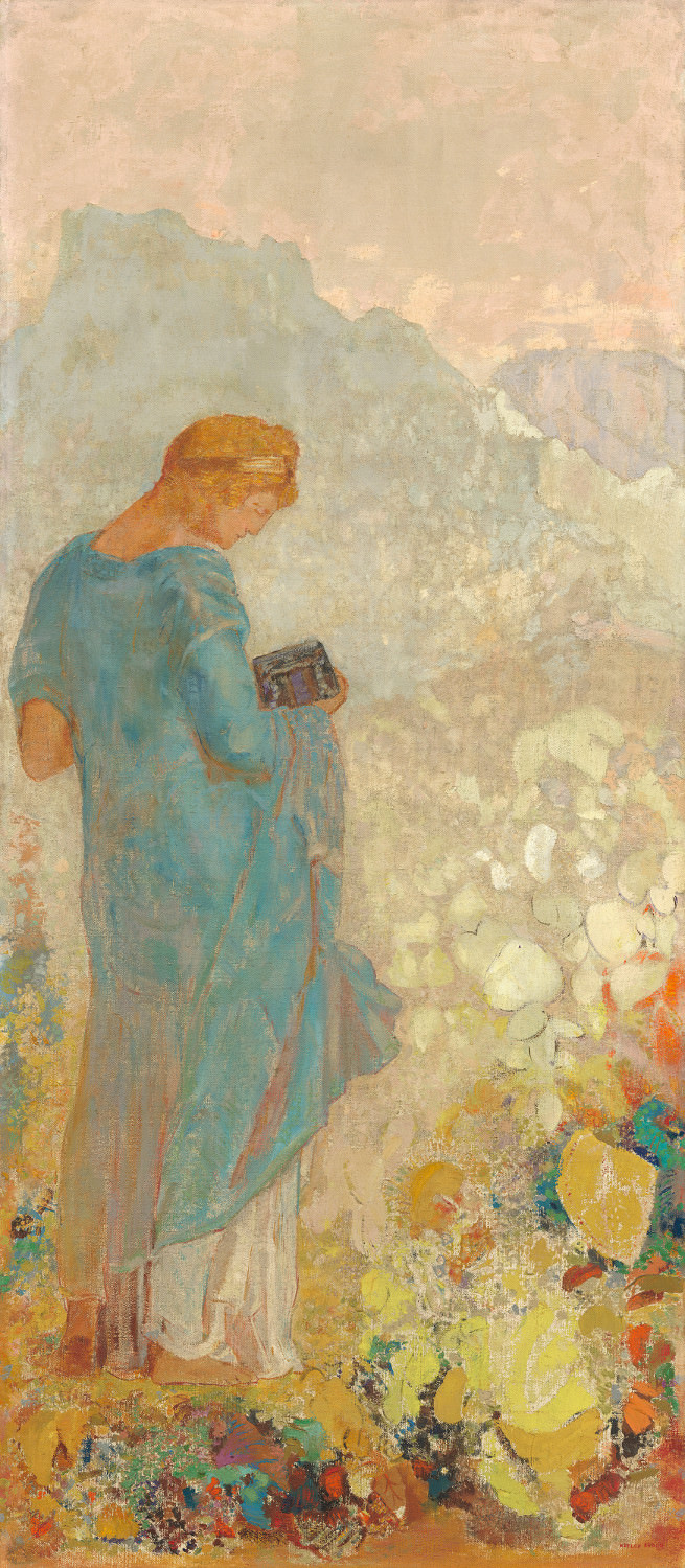 Feige. 15 - Pandora, Odilon Redon, 1910-1912, Öl auf Leinwand, 143,5 x 62,9 cm. National Gallery of Art, Washington. Chester Dale Collection.
