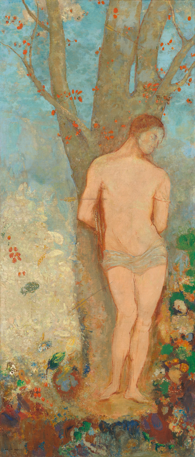 Feige. 16 - San Sebastian, Odilon Redon, 1910-1912, Öl auf Leinwand, 144 x 62,5 cm. National Gallery of Art, Washington. Chester Dale Collection.