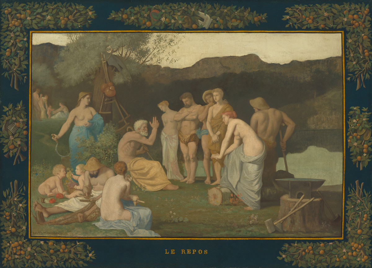 Feige. 10 - Rest, Pierre Puvis, 1863, Öl auf Leinwand, 108,5 x 148 cm. National Gallery of Art, Washington. Widener Sammlung.