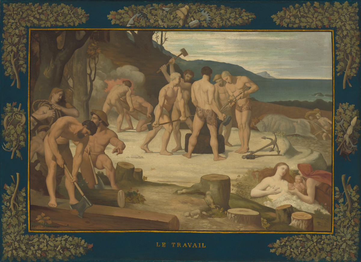 Feige. 11 - Arbeits, Pierre Puvis, 1863, Öl auf Leinwand, 108,5 x 148 cm. National Gallery of Art, Washington. Widener Sammlung.