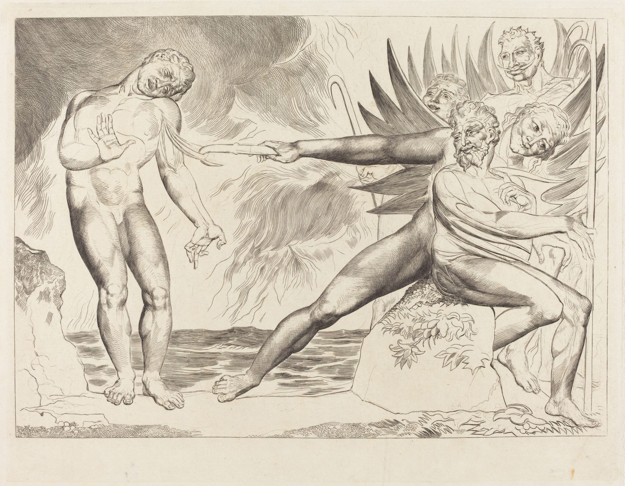 "Figue. 1 - Le Cercle des fonctionnaires corrompus; les Devils tourmentait Ciampolo, 1827. William Blake. National Gallery of Art, Washington. Collection Rosenwald. « A Arte, dit-il (Blake), la connaissance intuitive n'est pas des choses individuelles, mais les forces éternelles et surhumains de la création "". (ARGAN, 1988, p. 35)."