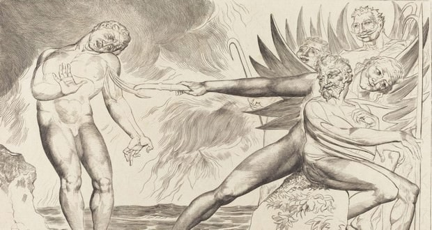 "Figue. 1 - Le Cercle des fonctionnaires corrompus; les Devils tourmentait Ciampolo, 1827, en vedette. William Blake. National Gallery of Art, Washington. Collection Rosenwald. « A Arte, dit-il (Blake), la connaissance intuitive n'est pas des choses individuelles, mais les forces éternelles et surhumains de la création "". (ARGAN, 1988, p. 35)."