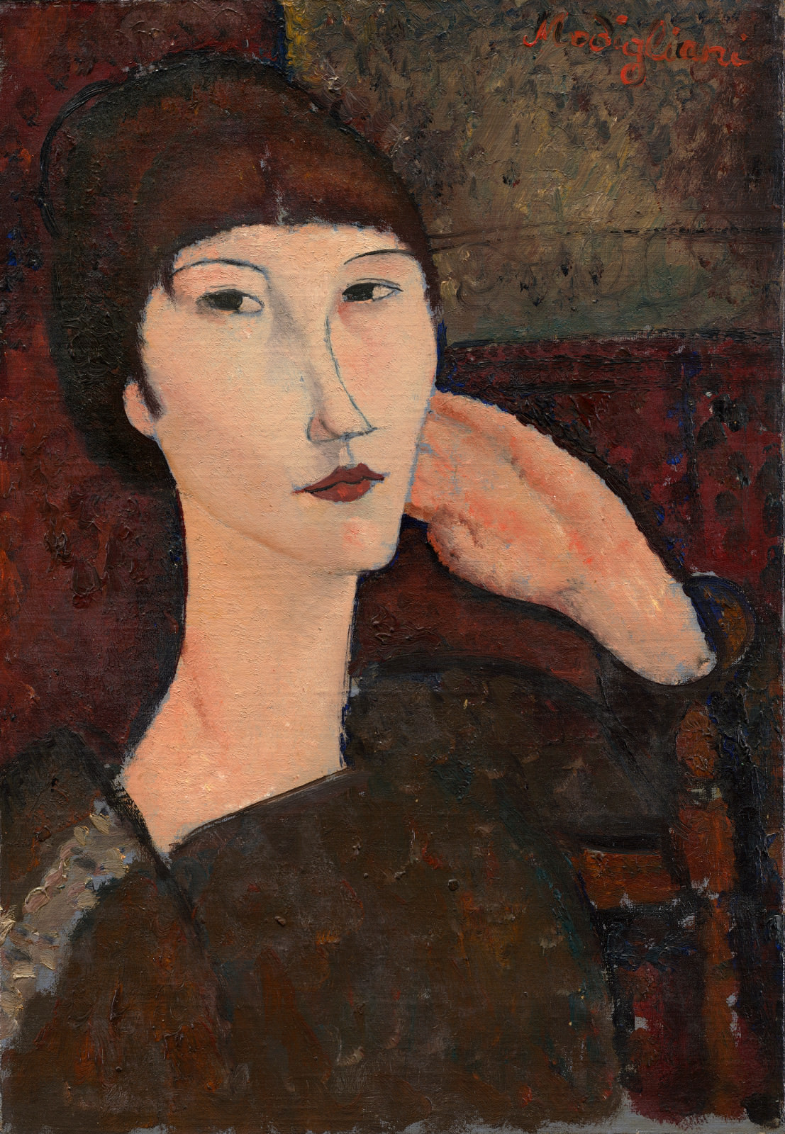 Fig. 8 - Adrienne (Mujer con explosiones), Amedeo Modigliani, 1917, El aceite de linaza en, 55.3 x 38.1 cm. National Gallery of Art, Washington. Colección de Chester Dale.