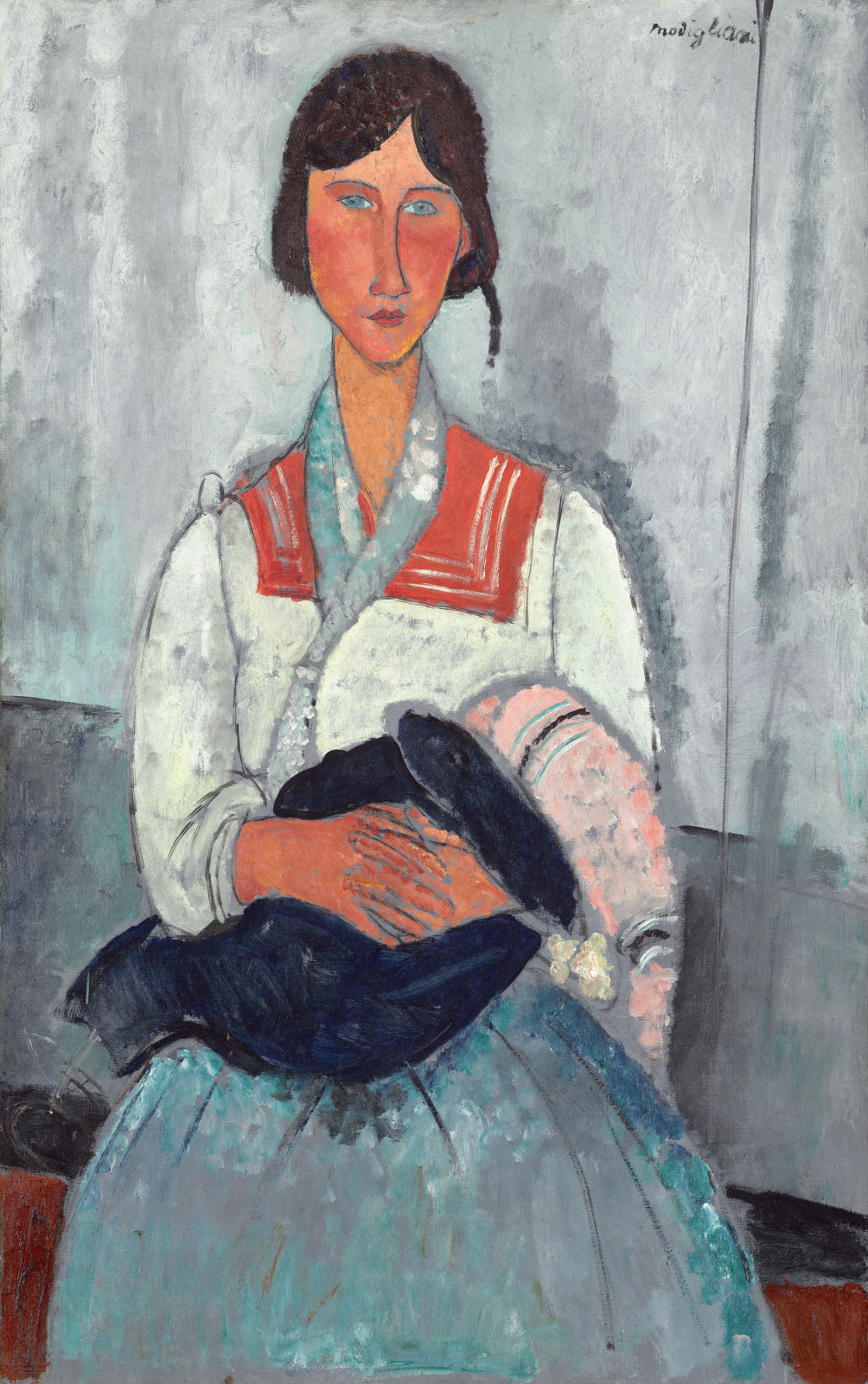 Fig. 6 - Las mujeres gitano con bebé, Amedeo Modigliani, 1919, óleo sobre lienzo, 115.9 x 73 cm. National Gallery of Art, Washington. Colección de Chester Dale.