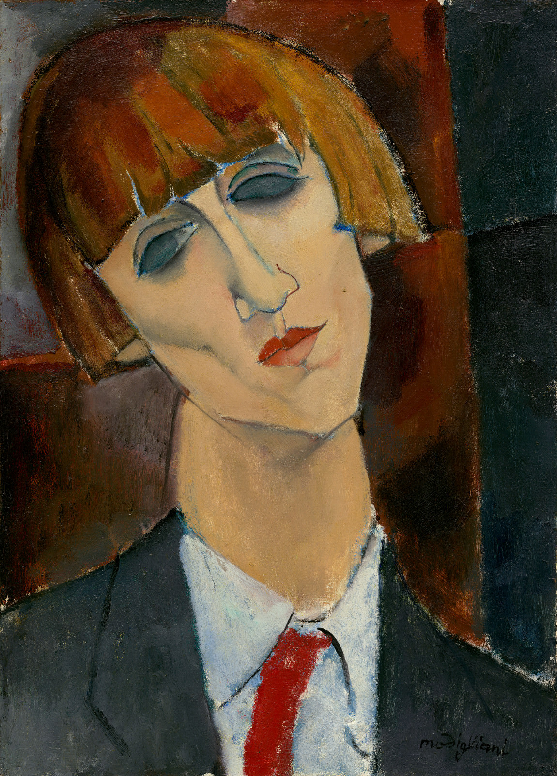 Fig. 7 - Madamme Kisling, Amedeo Modigliani, 1917, óleo sobre lienzo, 46,2 x 33,2 cm. National Gallery of Art, Washington. Colección de Chester Dale.