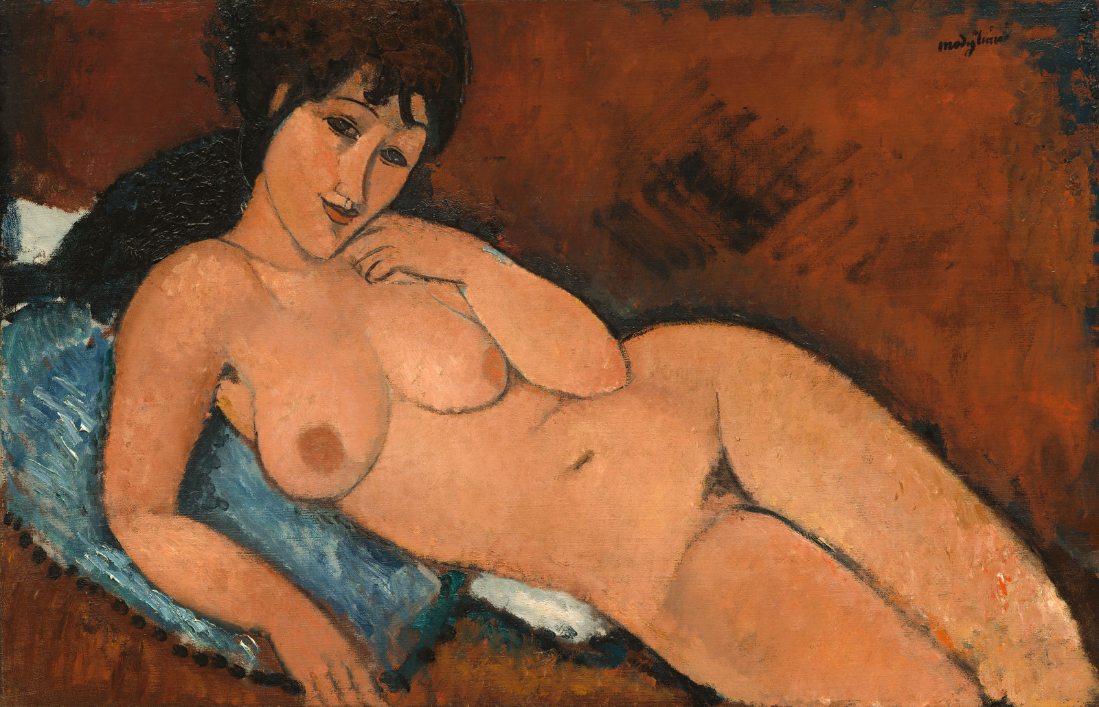 Fig. 9 - Desnudo en el amortiguador azul, Amedeo Modigliani, 1917, El aceite de linaza en, 65.4 x 100.9 cm. National Gallery of Art, Washington. Colección de Chester Dale.