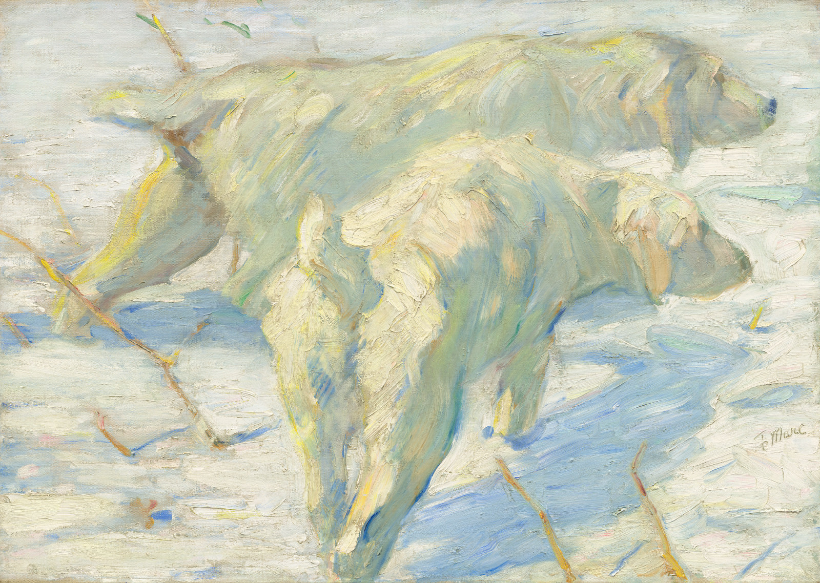 Fig. 11 - siberiano de la nieve Perros, Franz Marc, 1909/1910, óleo sobre lienzo, 80,5 x 114 cm. National Gallery of Art, Washington. Sr. regalo. e señora. Stephen M. Kellen.