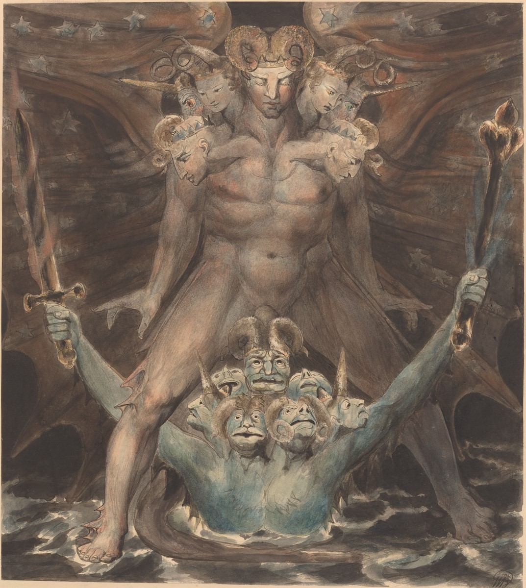 Le Grand Dragon Rouge et la Bête de la mer, 1805. William Blake. National Gallery of Art, Washington. collection Rosenwald.