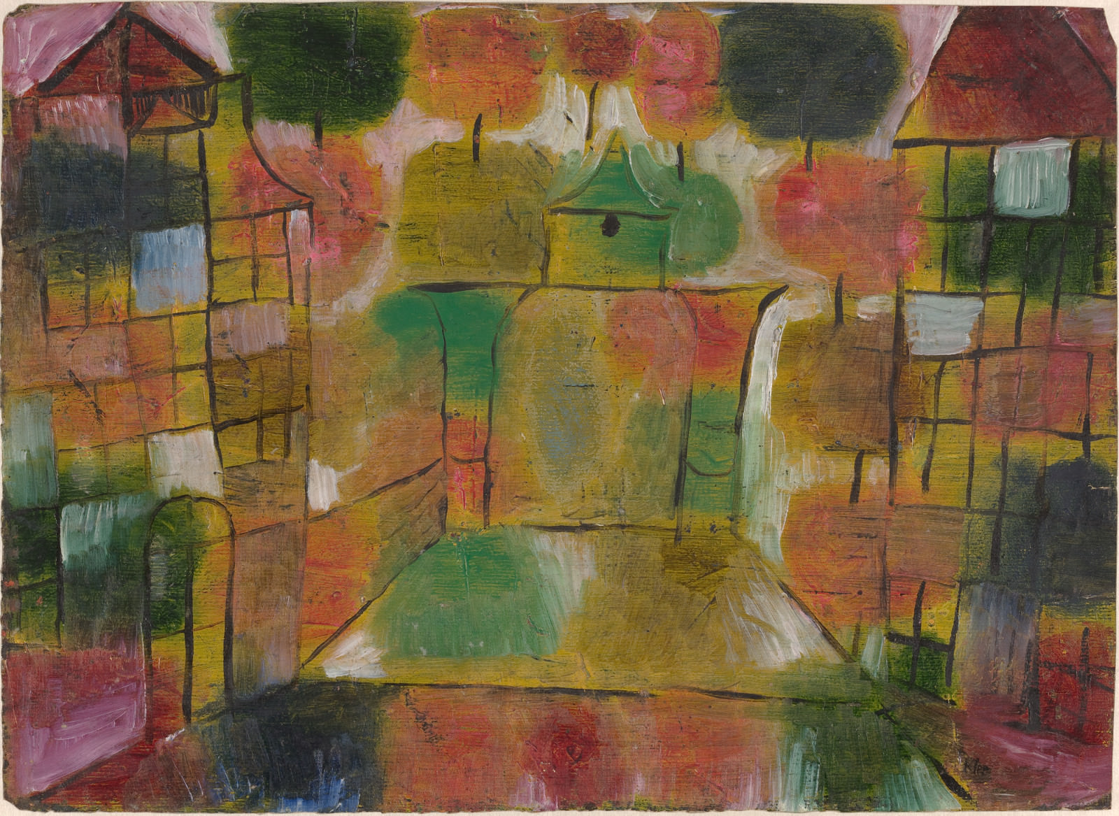 Fig. 10 – Paul Klee, Árvore e Arquitetura - Ritmos, 1920, Óleo sobre papel, geral: 27.9 x 38.3 cm (11 x 15 1/16 in.). National Gallery of Art, Washington. Presente de Benjamin and Lillian Hertzberg.