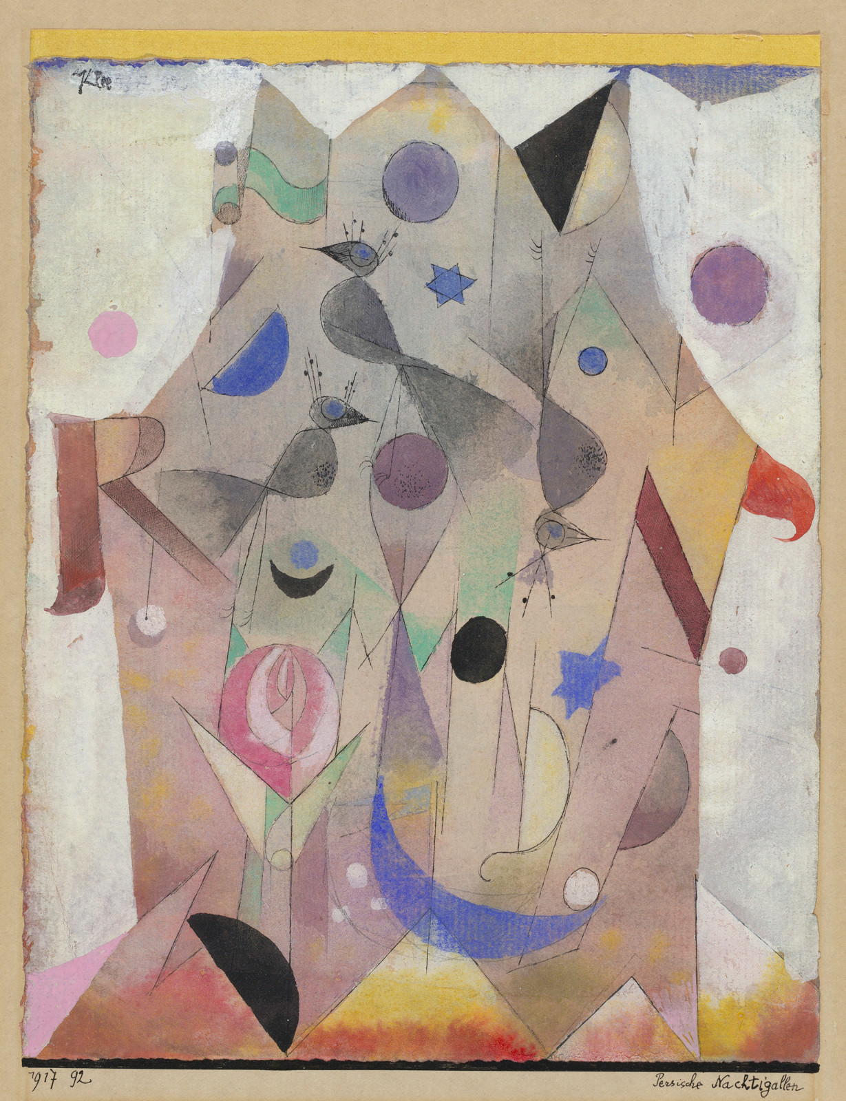 Fig. 9 – Paul Klee, Rouxinóis Persas, 1917, Guache, aquarela, caneta e tinta preta sobre grafite sobre papel, montadas em cartolina; a folha bordada na parte superior com tira de papel amarela montada para apoiar, geral: 22.8 x 18.1 cm (9 x 7 1/8 in.). National Gallery of Art, Washington. Presente de Catherine Gamble Curran and Family, em honra do 50º aniversário da National Gallery of Art.