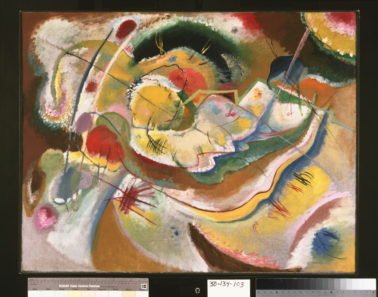 Fig. 4 – Vasily Kandinsky, Pequena Pintura com Amarelo (Improvisação), 1914, óleo sobre tela, 31 x 39 5/8 polegadas (78.7 x 100.6 cm) Emoldurado: 32 3/4 x 41 1/2 x 2 1/2 polegadas (83.2 x 105.4 x 6.4 cm). Philadelphia Museum of Art, The Louise and Walter Arensberg Collection, 1950-134-103.